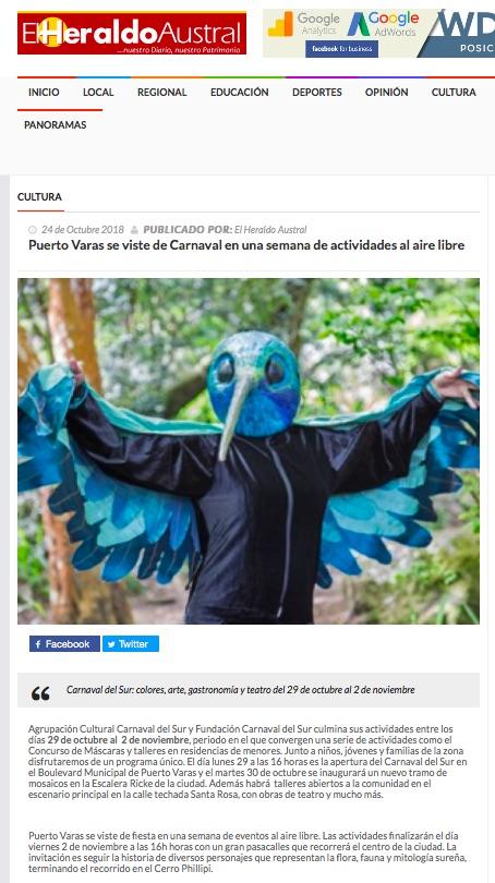 Puerto Varas se viste de Carnaval en una semana de actividades al aire libre