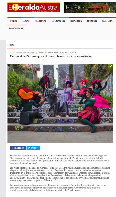 Carnaval del Sur inaugura el quinto tramo de la Escalera Ricke