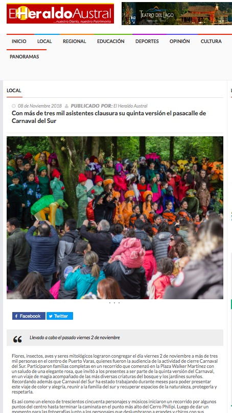 Con más de tres mil asistentes clausura su quinta versión el pasacalle de Carnaval del Sur