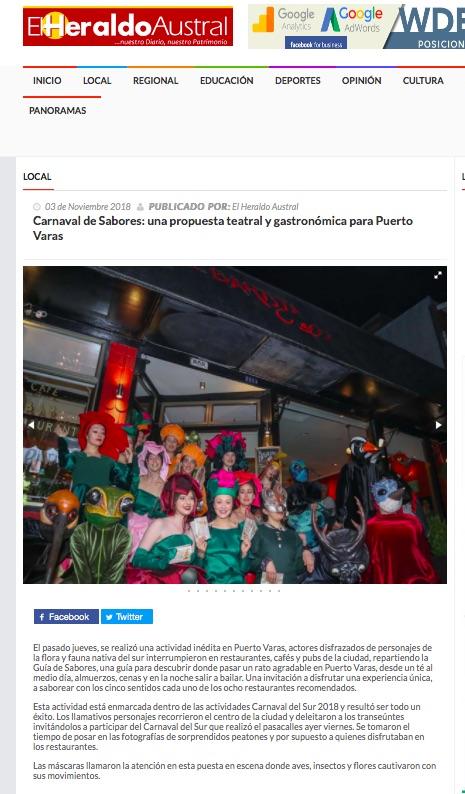 Carnaval de Sabores: una propuesta teatral y gastronómica para Puerto Varas