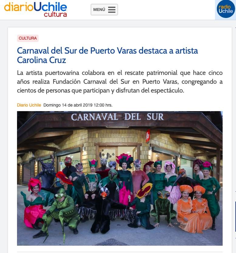 Carnaval del Sur de Puerto Varas destaca a artista Carolina Cruz