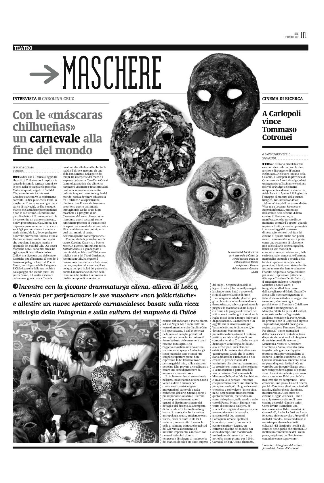 Con le máscaras chilhueñas un carnevale alla fine del mondo