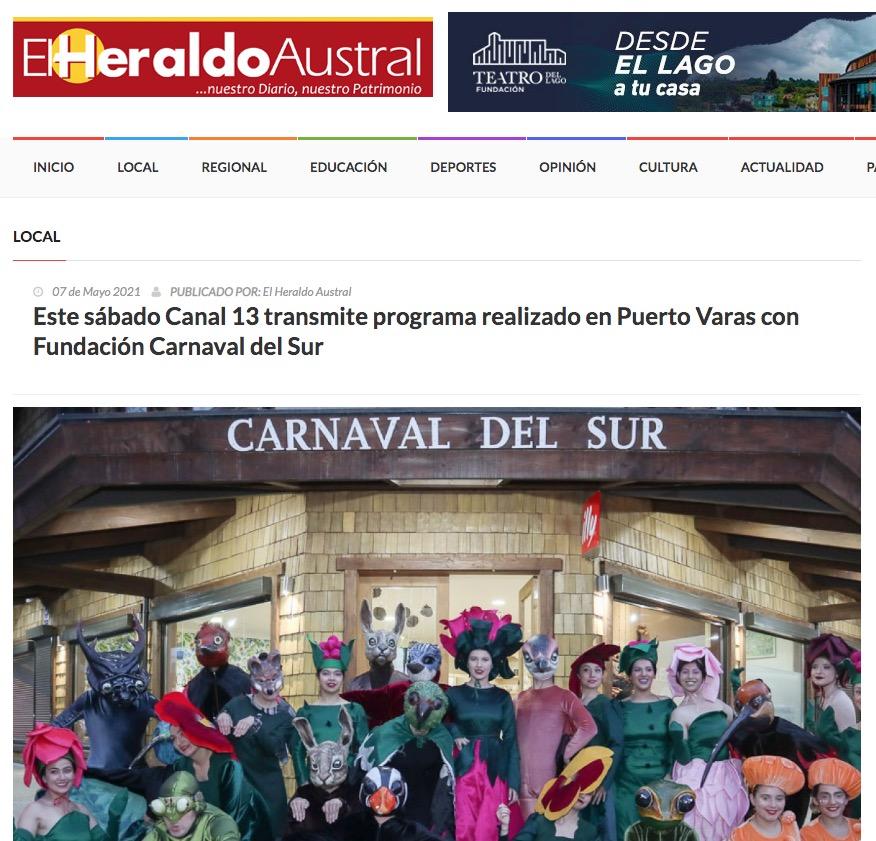 Este sábado Canal 13 transmite programa realizado en Puerto Varas con Fundación Carnaval del Sur