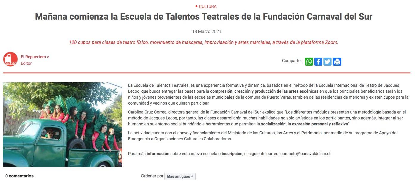 Mañana comienza la Escuela de Talentos Teatrales de la Fundación Carnaval del Sur