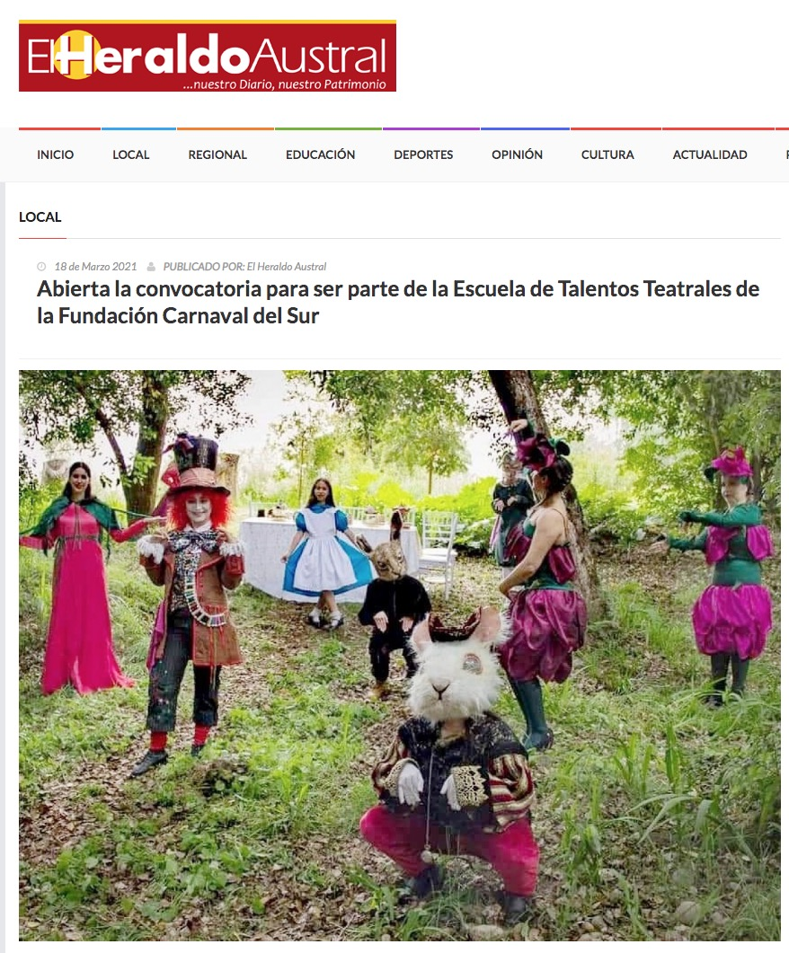 Abierta la convocatoria para ser parte de la Escuela de Talentos Teatrales de la Fundación Carnaval del Sur