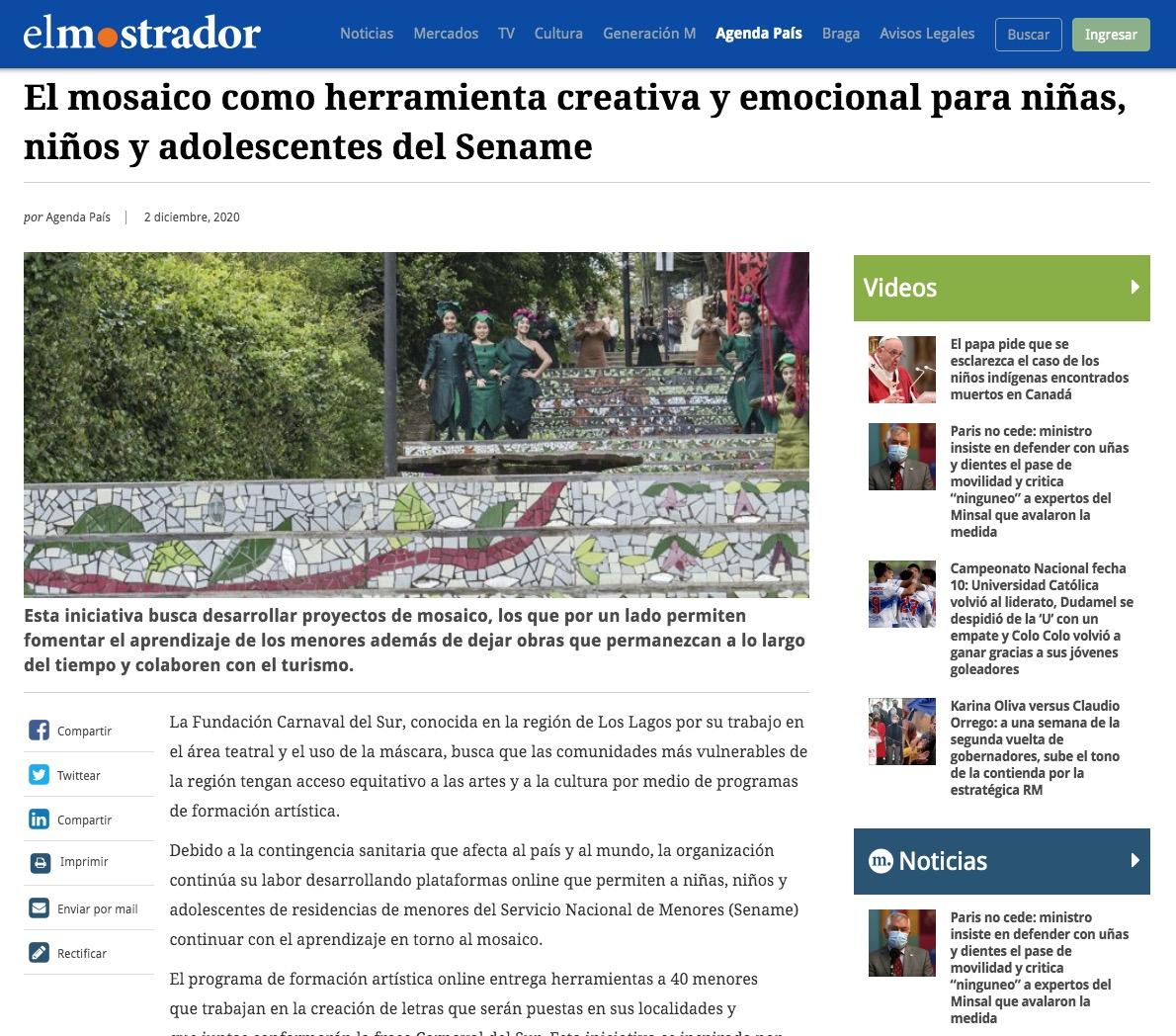 El mosaico como herramienta creativa y emocional para niñas, niños y adolescentes del Sename