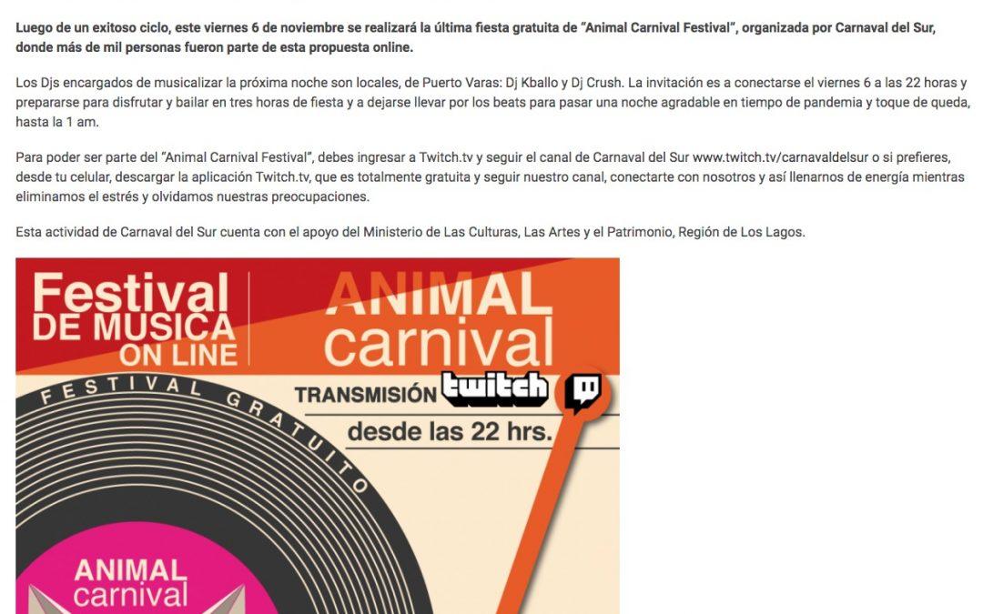 """Este viernes: última fiesta online """"Animal Carnival"""" de Carnaval del Sur"""